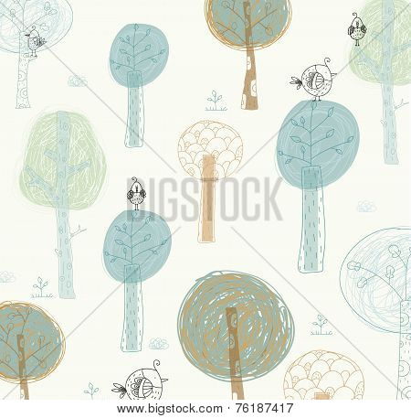 Bright background with the birds and trees. Cartoon summer background.