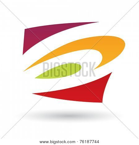 Red, Green and Orange Abstract Icon Illustration isolated on a white background