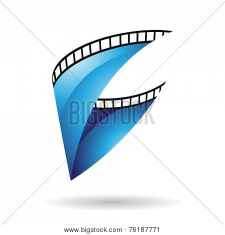 Blue Glossy Film Reel Isolated on a white background