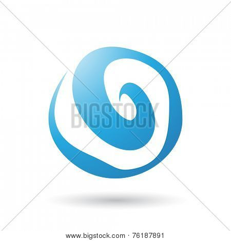 Blue Swirl Abstract Icon Illustration isolated on a white background