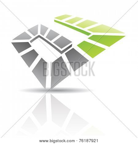 Black and Green Abstract Icon Illustration isolated on a white background