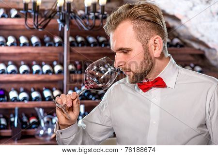 Sommelier in the wine cellar