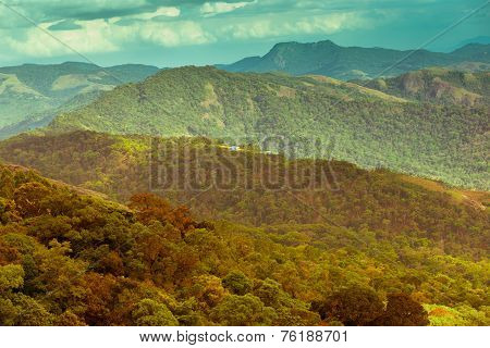 Beautiful Landscape With Mountains In India, Kerala, Munnar, Vintage Style