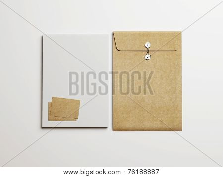 Set Of White And Kraft Branding Elements On White Background