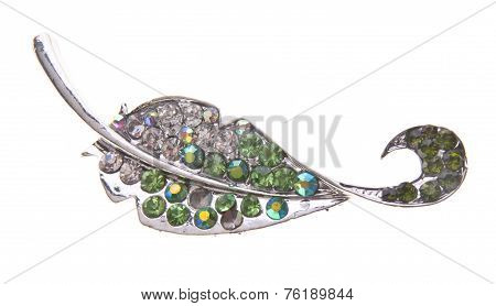 Brooch With Different Gems On Background.