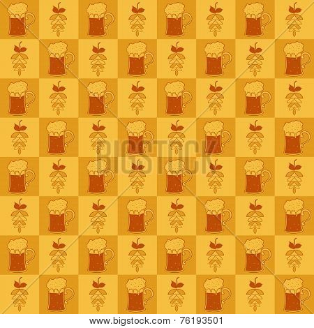 Beer mugs and hop seamless pattern