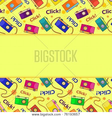 Photo cameras vector seamless pattern