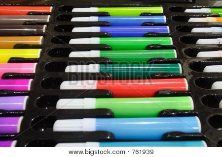 Tray of Colored Pens