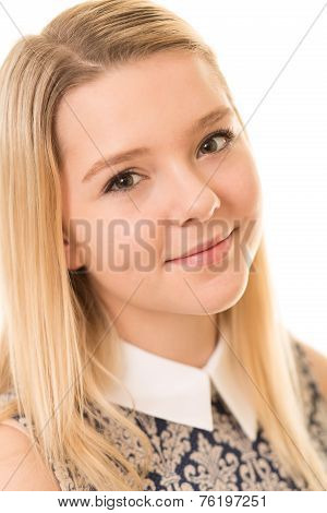Beautiful Blond Girl With Brown Eyes