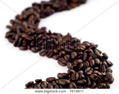 Whole Coffee Beans On A White Background