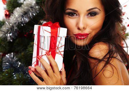 Beautiful Santa Helper - Next To Christmas Tree