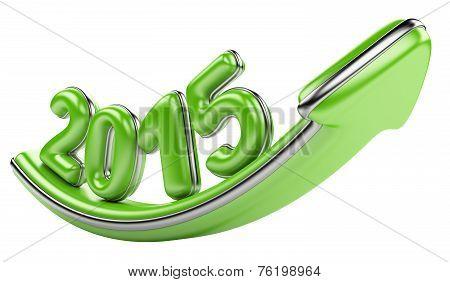 3D Arrow With Year 2015 Growth Upward