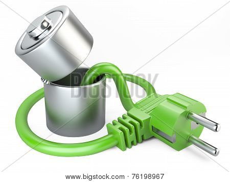 Open Battery Charger With Plug. Eco Concept.