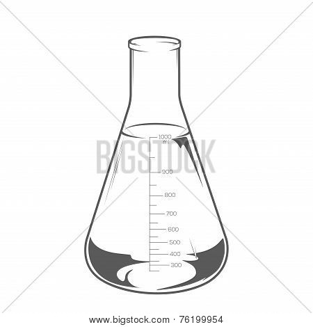 Chemical Laboratory Glassware With Liquid Isolated On White Background. Erlenmeyer Flask 1000Ml. Mon