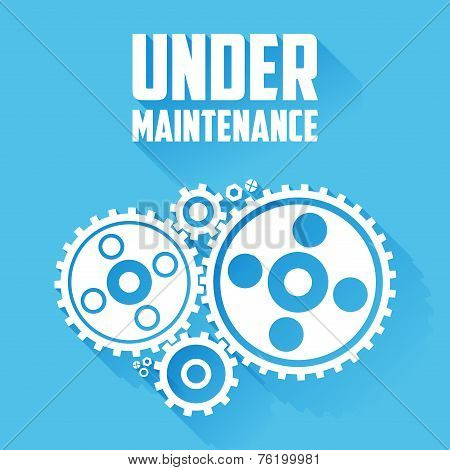 White Cogwheels Isolated On A Blue Background. Under Maintenance Website Page Message. Flat Style Wi