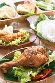 picture of ayam  - Delicious nasi ayam penyet with sambal belacan - JPG