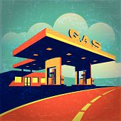 pic of gasoline station  - vector illustration of a stylized effect of old movie film on petrol station on the highway - JPG
