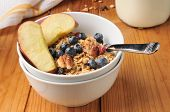 stock photo of pecan  - A bowl of organic granola with pecans raisins blueberries and sliced apple - JPG