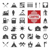 picture of landslide  - Camping and hiking icons set in flat style - JPG