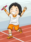 foto of relay  - Illustration Featuring a Girl Celebrating Her Winning of the Relay Race - JPG