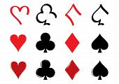 picture of playing card  - Three different kind of playing card icons - JPG