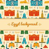 image of ankh  - Landmarks of Egypt vector background in flat style with central space for text - JPG