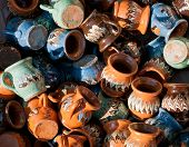 picture of pottery  - A pile of Romanian traditional pottery handcrafted mugs - JPG