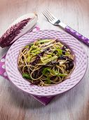 foto of chicory  - spaghetti with chicory and leek - JPG