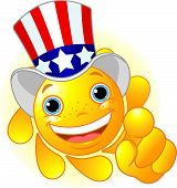 pic of smiley face  - Cute and shiny Sun with Uncle Sam hat pointing to us - JPG