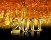 image of new years  - Illustration composition of fiber optic lights with 3D numbers 2011 for New years eve party invitation or greeting card background - JPG