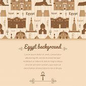 pic of ankh  - Landmarks of Egypt vector background in flat style with horizontally space for text - JPG
