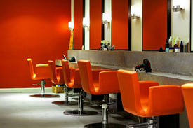 image of beauty salon interior  - Modern empty hair saloon with chairs and mirrors - JPG
