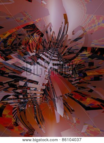 3d illustration of abstract with metallic and luminous colors