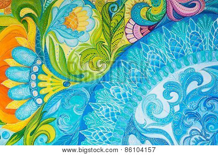 Abstract Drawing Oil Paints On A Canvas With Floral Ornament