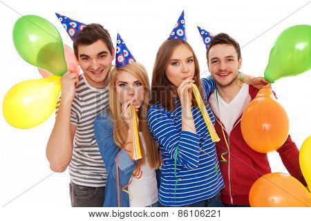 Group of young people having a birthday party, isolated on white background