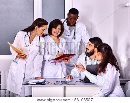 Medical team of doctor in hospital. Discussion of problem