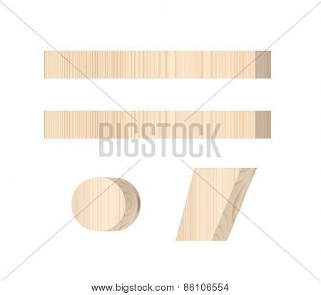 Signs from wooden alphabet set isolated over white.