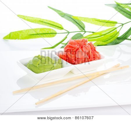 Japanese Spices Ginger And Wasabi With Bamboo List