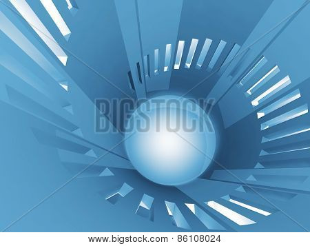 Abstract 3D Round Spiral Blue Tower Interior