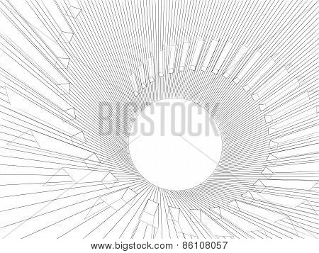 3D Illustration With Black Wire-frame Spiral Structure On White