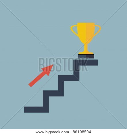 Arrow On Stair To Golden Winner Cup