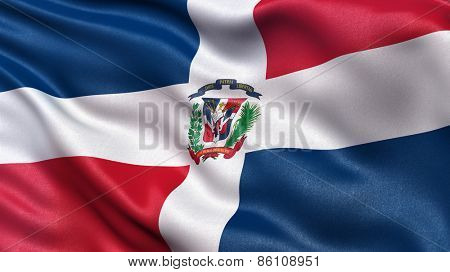 Beautiful flag of the Dominican Republic waving in the wind