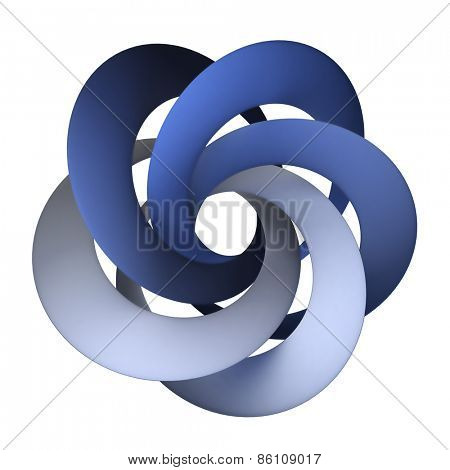 3D rendering of an abstract shape with blue interlocked rings