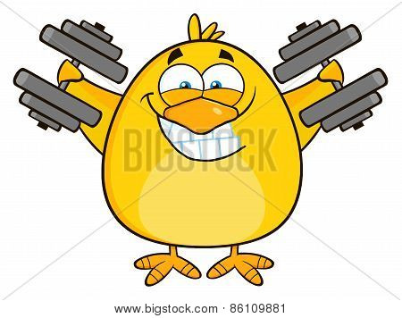 Smiling Yellow Chick Cartoon Character Training With Dumbbells