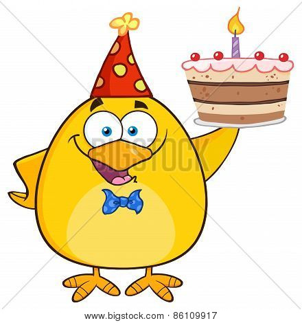 Happy Yellow Chick Cartoon Character Holding Up A Birthday Cake