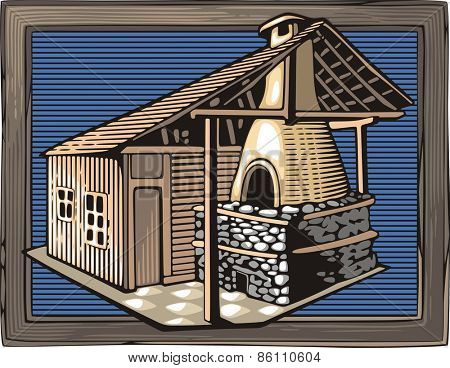 Vector illustration of a fire oven, done in retro woodcut style.