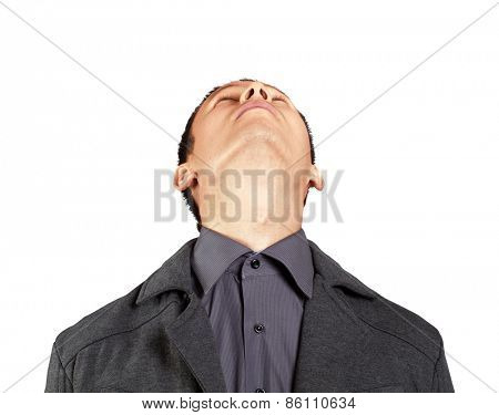 Idea concept with businessman looking upwards