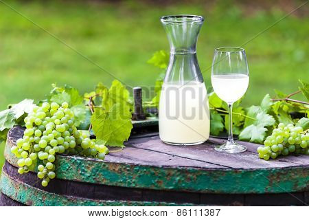 wine glass and carafe with wine cider standing on cask