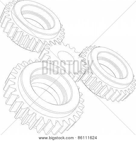 Four wire-frame gears. Perspective view. Vector illustration