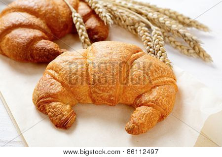 Croissant With Spikelets Of Wheat On Paper